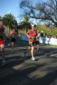 Action image of the 5km run finish - Ed sprints home past Ewin